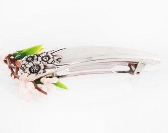 Vintage Spoon Hair Barrette - April Silverware Hair Barrette - Spoon Hair Barrette - Spoon Jewelry - Silverware Hair Barrette (mcf H36)