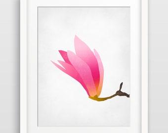 Magnolia Pink Flower Art, Floral Art Print, Bedroom Decor, Abstract Flower Art, Botanical Print, Bedroom Wall Art, Spring Decor, Nature Art