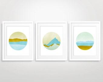 Wall Art Set of 3 Prints, Abstract Landscape, Modern Abstract Art, Mid Century Art, Pastel Art Print, Abstract Print, Living Room Wall Decor