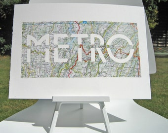 PARIS METRO SIGN - hand paper cut from a vintage map of France // Map Art // Paper Cut