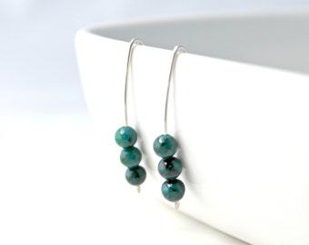 Blue and Green Australian Sapphire Jasper and Sterling Silver Three Bead Earrings, Minimalist, Modern