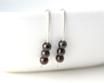 Dark Ruby Garnet Sterling Silver Earrings, January Birthstone
