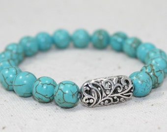 Turquoise Howlite and Silver Plated Stretch Bracelet / Gifts under 20