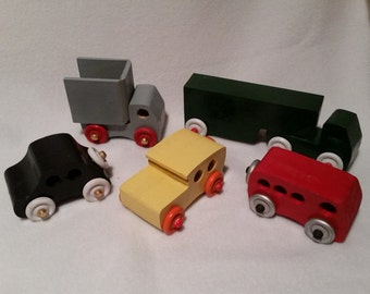 Hand Made Wood Toy Cars & Trucks