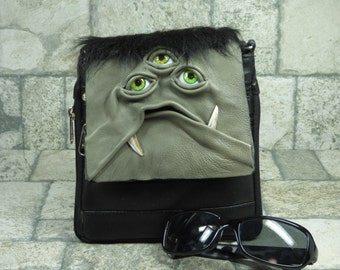 Purse With Face Small Messenger Bag Cross Body Monster Harry Potter Labyrinth Grey Black Leather