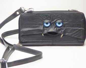 Wallet Organizer Purse With Face Cross Body Black Leather Harry Potter Monster Labyrinth