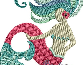 Filled Mermaid Embroidery Design - Instant Download