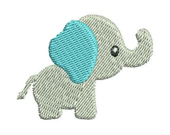 Mini Baby Elephant Applique Embroidery Design - Instant Download
