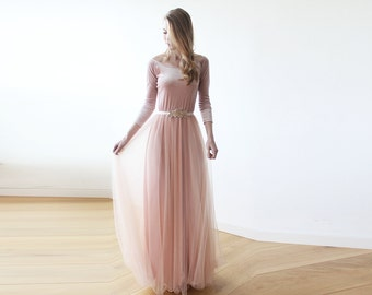 Maxi blush velvet and tulle gown with long sleeves , Velvet pink bridesmaids maxi gown 1078