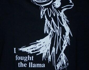 M Llama T-Shirt with original art  in Black with White Printing, Adult Medium