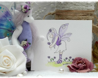 Anniversary Sale.   Lillie, Ooak fairy and watercolour sketch gift set. art doll.