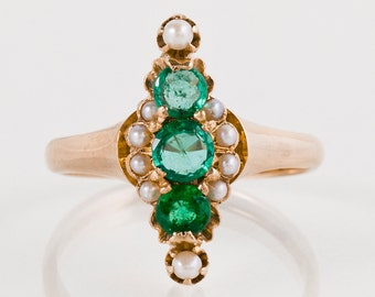 Antique Ring - Antique Victorian 1890s 14k Rose Gold Emerald & Seed Pearl Ring