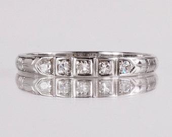 Antique Wedding Band - Antique 1920s 18K White Gold Diamond Wedding Band