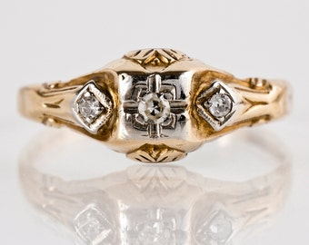 Vintage Engagement Ring - Vintage 10k Two-Tone Diamond Engagement Ring