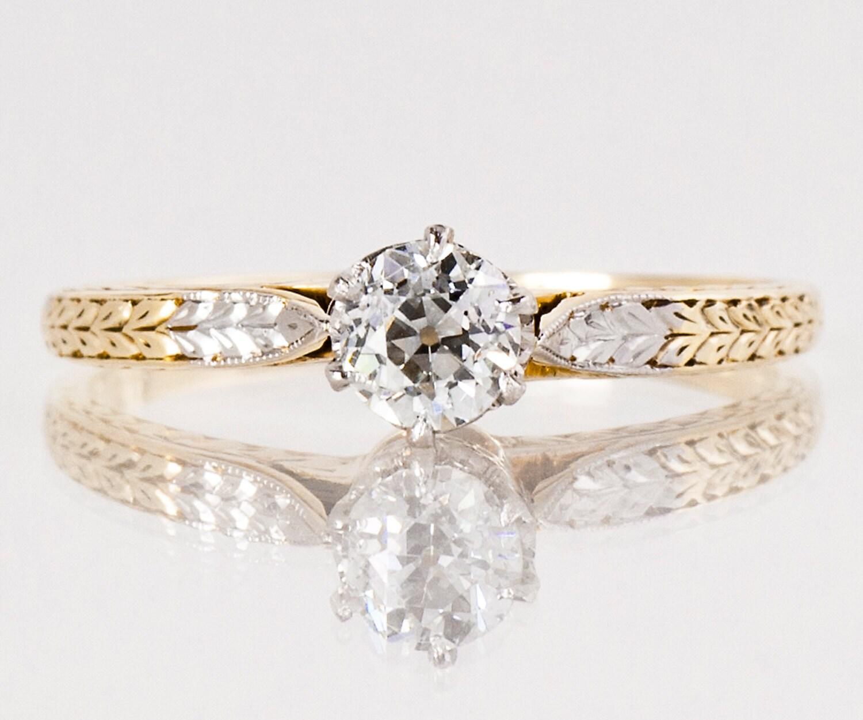 antique engagement ring antique 14k two tone