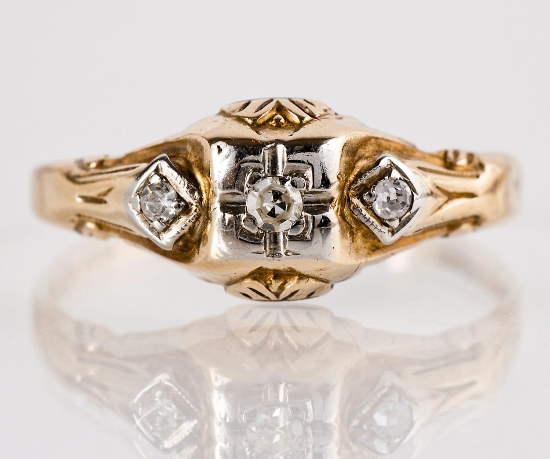 vintage engagement ring vintage 10k two tone