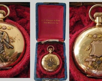 1902 Special Gilded 14K Solid Gold Hunter case Pocket Watch IOB, Works