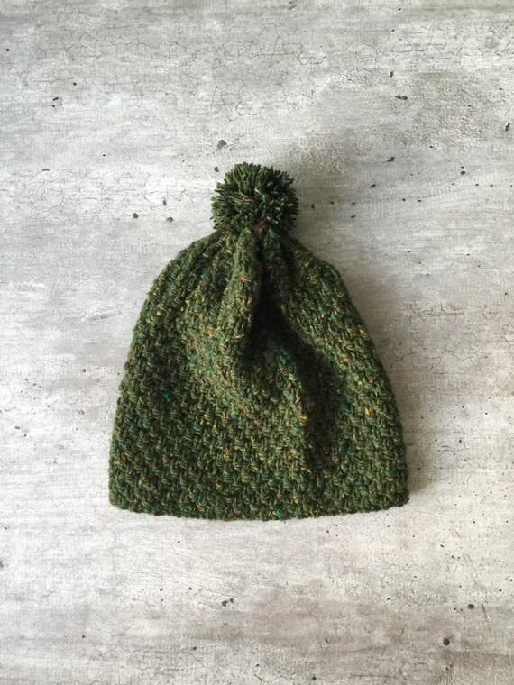 Knit Hat, Knitted Hat, Beanie Knit, Pom Pom Beanie, Unisex Hat, Green Hat, Tweed Hat, Tweed Beanie , Handknit Hat, Rowan Tweed