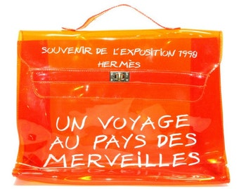 Vintage Hermes a rare transparent orange vinyl Kelly bag Japan Limited Editio. Rare and collectible bag from 90's Hermes exhibition.