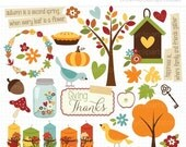 50% OFF SALE Clipart - Giving Thanks / Thanksgiving / Fall / Autumn - Digital Clip Art (Instant Download)