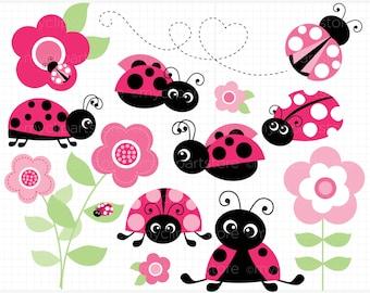 Clipart - Ladybug Garden (Pink) / Ladybird  - Digital Clip Art (Instant Download)