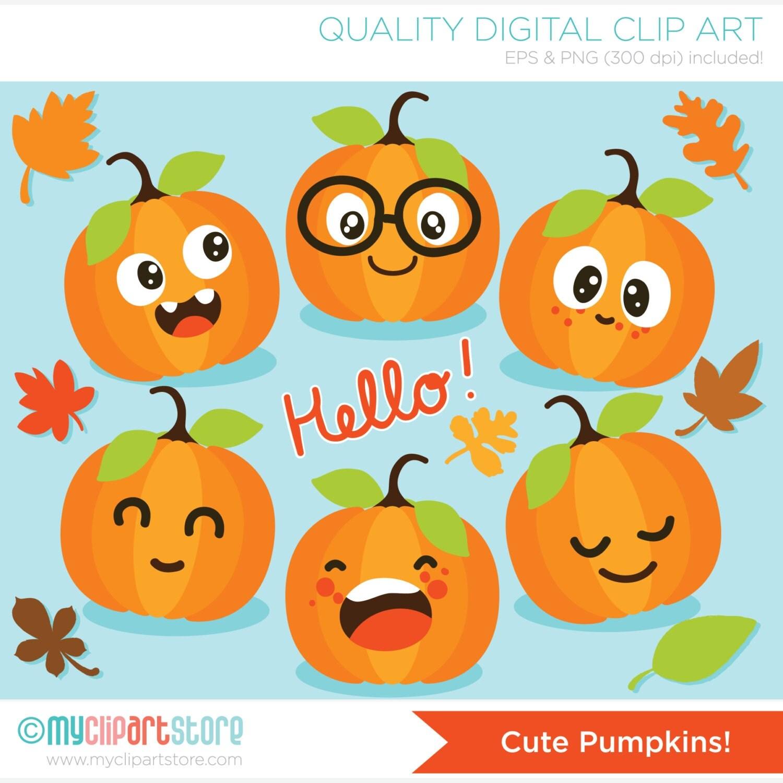 clipart cute pumpkins fall autumn leaves digital clip