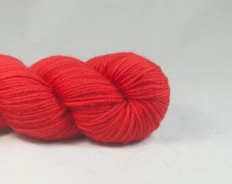 Hand Dyed Superwash Merino DK Yarn Red