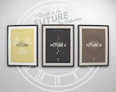 Back to the Future Trilogy ~ 3 Minimalist Movie Poster Art Prints. Designed by Christopher Conner