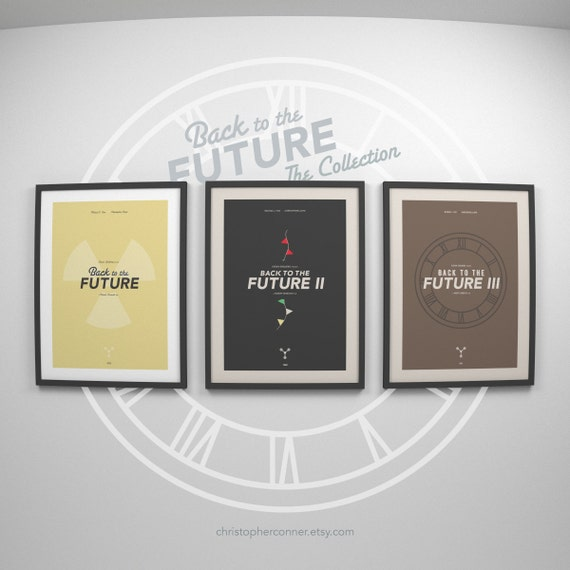 Back to the Future Trilogy ~ Minimalist Movie Poster Art, Set of 3 Prints by Christopher Conner