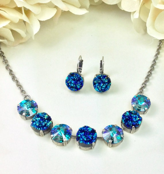 Swarovski Crystal- 12MM and ( Faux) Blue Green Druzy Necklace & Earrings - Designer Inspired - Beautiful Glowing Iridescence - FREE SHIPPING