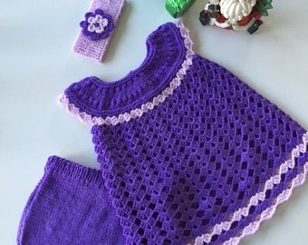 Baby girl Easter dress,outfit,crochet,knit,purple,3 months,6 months,handmade,photo prop outfit,knitted baby gift,baby shower gift,layette
