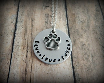 live love rescue - Hand Stamped Necklace - Pet Jewelry - Animal Adoption - Pet Lover Gift - Rescue Necklace - kg4478