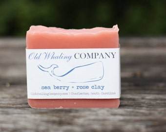 Sea Berry + Rose Kaolin Clay Soap Bar // Facial Bar Soap // Natural Soap / Handmade Soap / Cold Process Soap