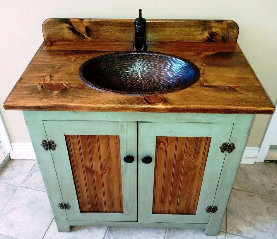 Country Pine Bathroom Vanity With Hammered Copper Sink 36 Inch Wide Rustic Bathroom Vanity