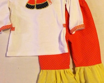 Sweet and Sassy, Monogrammed, Ruffle Pants, Fall Candy Corn Set