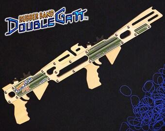 Rubber Band DoubleGatt - Wood Toy Gun - Rifle / Pistol - Hand-crafted in Alaska, USA