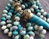 Agate horn boho necklace - knotted long semi precious tusk tribal beaded jewelry by mollymoojewels