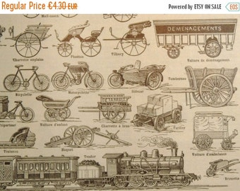 Sale 50 % Off 1 Antique FRENCH DICTIONARY ILLUSTRATION, A4, Vehicle Print, Transport, 1 sided. Black and White.