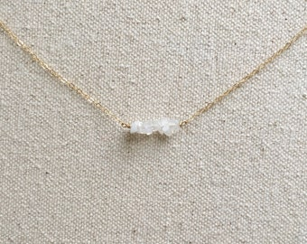 Dainty Moonstone Necklace // Raw Stone Necklace // Natural Stone Jewelry // Moonstone Jewelry