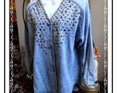 Heavy Beaded Vintage Blue Denim Shirt / Jacket by Monique Fashions Size L - CLO-124a-041814005