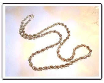 "Heavy Double Twist Goldtone Chain - Opera length 26"" Chain - Vintage Gold Tone Necklace - Neck-3357a-090814015"