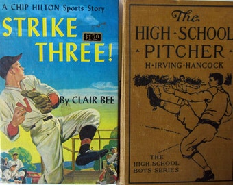 2 Vintage Baseball Books: The High School Pitcher, Strike Three!, 1910/1949, Hard Bound