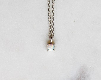 Tiny Opal Pendant Necklace in Sterling Silver, Bridal Jewelry, Minimalist Pendant, Delicate Necklace, Birthstone