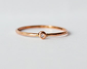 Tiny White Diamond 14K Rose Gold Ring, Wedding Ring, Engagement Ring, Skinny Band,