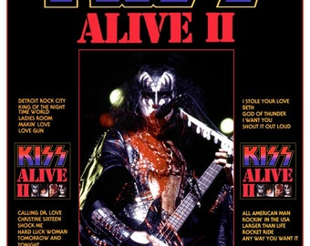 "KISS ALIVE II Gene Simmons ""24 x 36.92"" Inch Custom Retro Poster - Kiss Band Collectibles Memorabilia Gift Idea Posters kiss76"