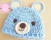 Baby Bear Crochet Hat, Teddy Bear Hat, Baby Bear Hat, Crochet Teddy Bear Hat, Newborn Photo Prop, Baby Photo Prop