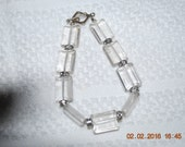 """Sterling Silver Glass Braclet 8"""" Cubic Zirconia spacers Unique"""