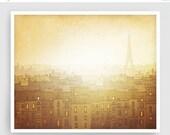20% OFF SALE: Morning hope - Paris Art Illustration Giclee Art print Home decor Paris decor Travel poster Cityscape City drawing Mustard Arc