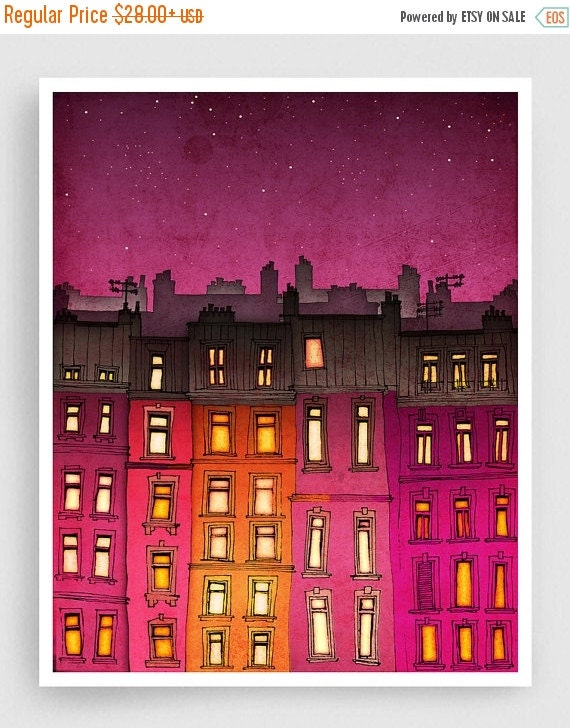 20% OFF SALE: Paris red facade - Paris illustration Art illustration Mixed media illustration Art Prints Posters Paris decor Architecture Ci