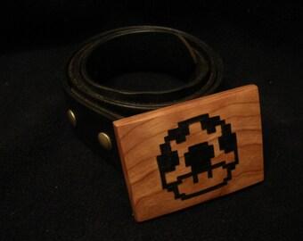 8-Bit Wood Belt Buckle - Mario Bros. Mushroom
